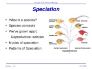 Species and speciation lecture