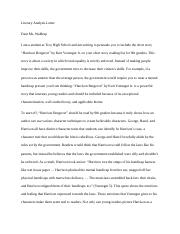 Literary Analysis Letter