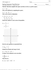 Printables Algebra 1 Worksheet Answers cpm algebra 1 2 unit 4 review 7 3 pages spring semester final review