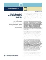 What We Do and Don't Know about Discretionary Fiscal Policy (R11)