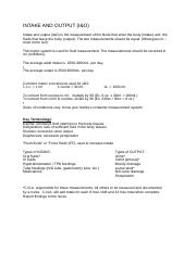 INTAKE AND OUTPUT practice worksheet
