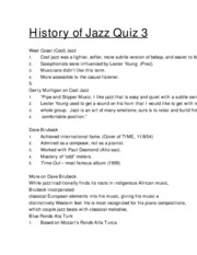 jazz quiz 3 study guide