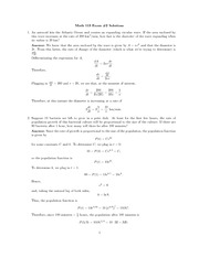 Exam 2 Solution on Single Variable Calculus Fall 2009