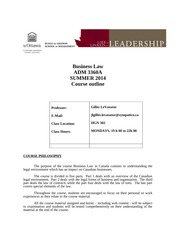 business law course outline Blaw 231[mgmt 231] the legal environment of business credit 3 hours law and legal institutions in society, emphasizing areas of law.