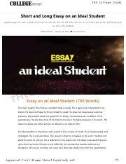An Ideal Student Short Essay