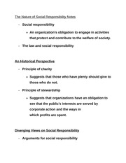 The Nature of Social Responsibility Notes