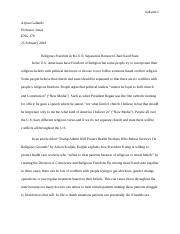 Analytical Paper on Religious Freedom in the U.S..docx