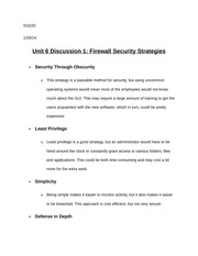 Unit 6 Discussion 1 Firewall Security Strategies
