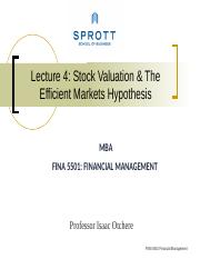 Lecture 4 Stock Valuation and EMH- HO