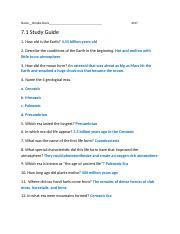 7.1 ES Study Guide