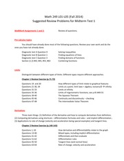 Suggested Review Problems for Midterm Test 1