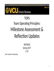 TOPS 2. Document Milestone Review and Reflection 10.2015 (2)