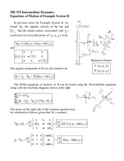 NewtonEuler Equations of Motion Example System II Review