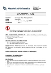 Exam FRM July 2012