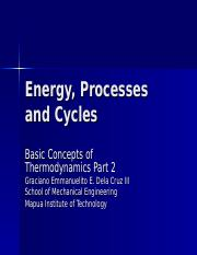 2 Energy, Processes and Cycles