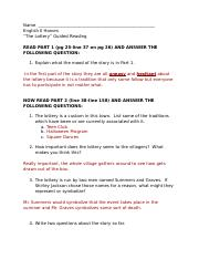 Guided Reading Questions for The Lottery.docx