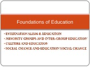 Culture, Social Change and Education