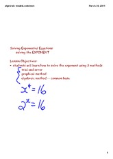 Solving Exponential Equations-