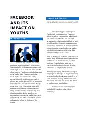 Facebook and Its Impact on Youths.docx