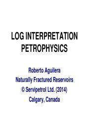 Section 3 Petrophysics_v2 pdf - LOG INTERPRETATION PETROPHYSICS