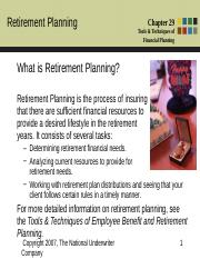 Chapter 29 - Retirement Planning.ppt