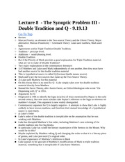 Rel 155 Lecture 8 - Double Tradition and Q