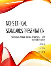 NOHS Ethical Standards Presentation