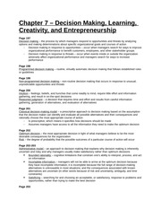 Study Guide - Chapter 7 - Decision Making, Learning, Creativity, and Entrepreneurship