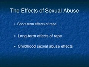 PSY 265 Effects of Sexual Abuse