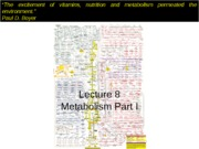 Lecture 8 Metabolism I