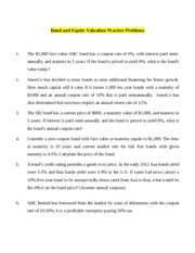 Bond Valuation and equity valuation Practice Problems.docx