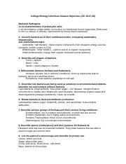 College Biology Infectious Disease Objectives