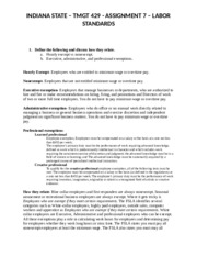 INDIANA STATE – TMGT 429 - ASSIGNMENT 7 – LABOR STANDARDS.docx