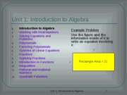 Algebra Unit 1 Introduction to Algebra