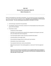 BUS1041, Presentation Guidelines