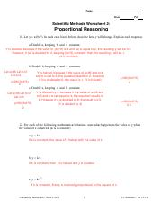 Proportional Reasoning Name Date Pd Scientific Methods Worksheet 2