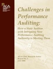 Challenges in Performance Auditing