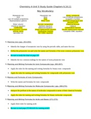 Chemistry A Unit 5 Study Guide