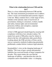 What is the relationship between CSR and the law