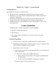 Reading Notes - Chapter 2 - Strategic Planning