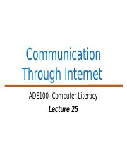 ADE Lecture 25- Communication Through Internet