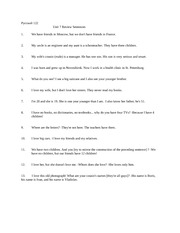 Unit 7 review sentences 2009