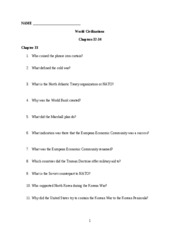 World Civ Worksheet Chapters 32-34