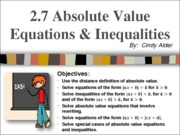 2.7 Absolute Value Equations and Inequalities