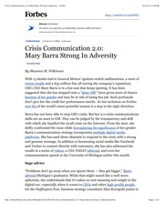 Crisis Communication 2.0: Mary Barra Strong In Adversity - Forbes