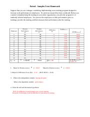 Paired-Samples t-test practice Answer Key