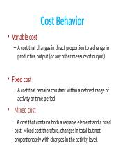 7 Cost Behavior