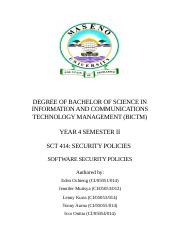 SCT 414 - SECURITY POLICIES - SOFTWARE SECURITY POLICIES - FINAL DRAFT.docx