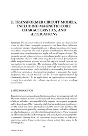 Chapter 2. Transformer Circuit Models, including Magnetic Core Characteristics, and Applications