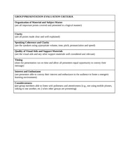 CRITERIA FOR GROUP PRESENTATION EVALUATION